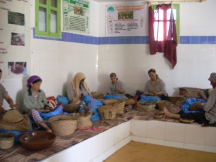 Women in a cooperative making argan oil