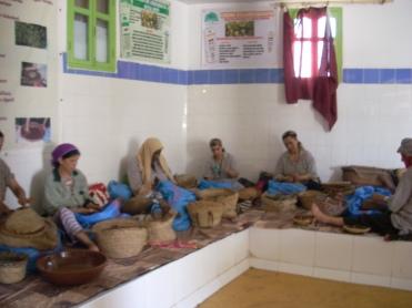 Women in a cooperative making argan oil