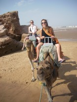 Riding camels in Essouira